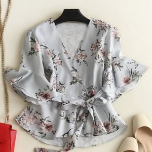 zara floral flare shirt with bow tie